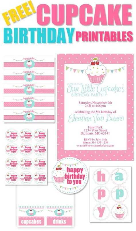 printable theme party decor cupcake themed birthday party with free printables how