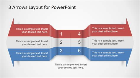 powerpoint layout text 3 arrows text layout template for powerpoint slidemodel