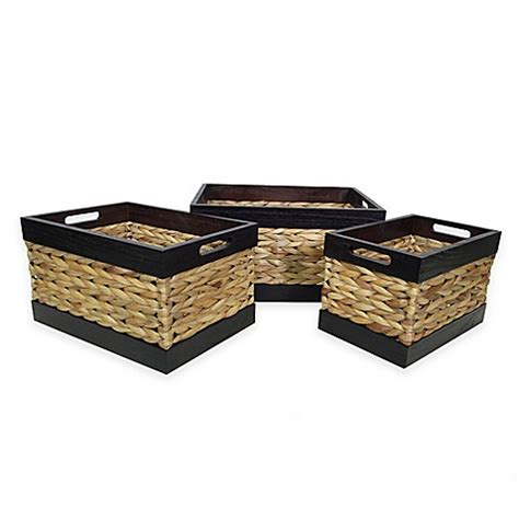 bed bath and beyond gift baskets rectangular wood and arrow weave baskets in espresso set of 3 bed bath beyond