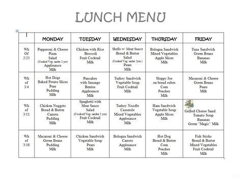 8 best images of printable preschool lunch menu