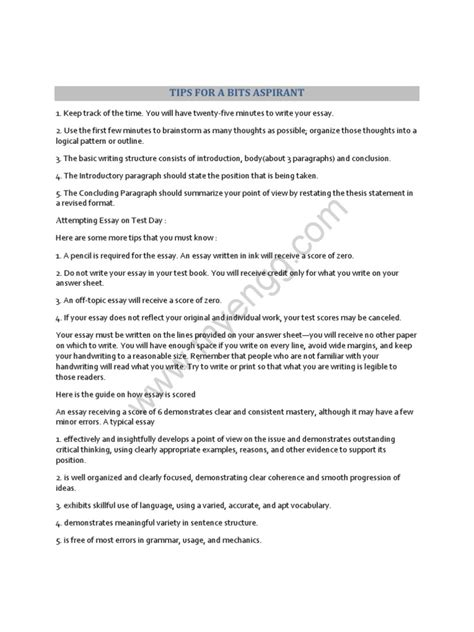 pattern of writing thesis tips for writing bitsat essays