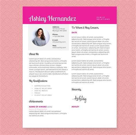 Bright Pink Resume Template Package Resume Templates On Creative Market Pink Resume Template Free