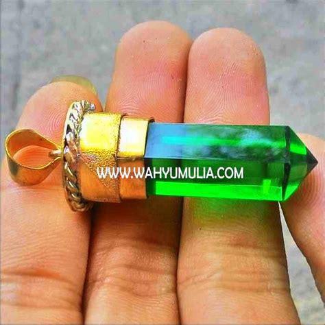 Liontin Satam Asli kalung liontin batu green tektit kode 311 wahyu mulia