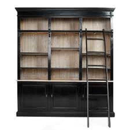 bookcase with sliding ladder wall of bookshelves with a rolling ladder on the cheap