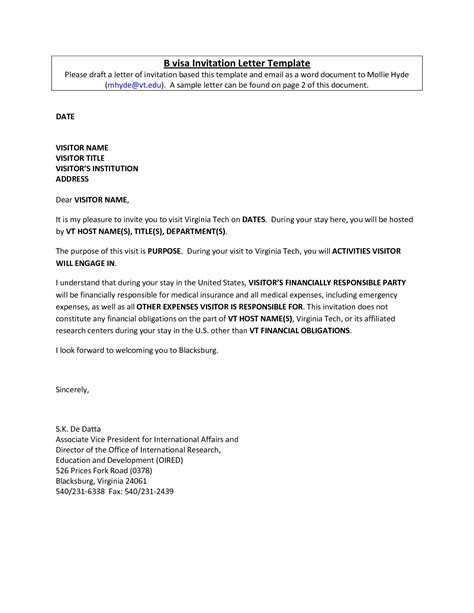invitation letter for visa to embassy sle cover letter
