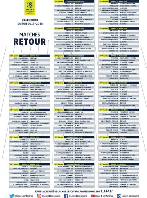 Calendrier De Ligue 1 Calendrier 2017 2018 Ligue 1 Conforama Les Principales