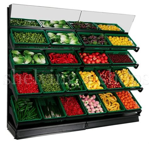 Fruits Display Rack by Fruit And Vegetable Wall Display Shop Vegetable Stand