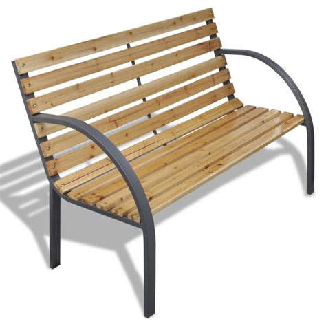 iron bed bench slatted wooden outdoor garden bench w iron frame buy
