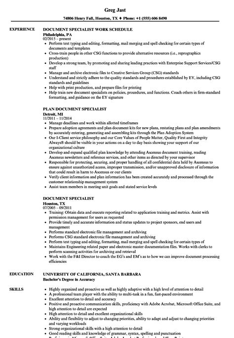 Specialist Resume by Document Specialist Resume Sles Velvet