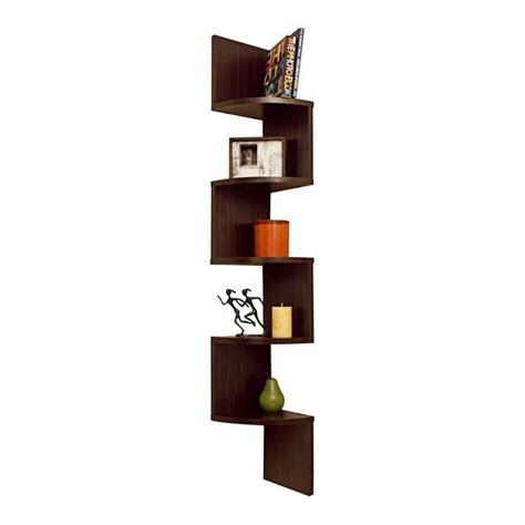 corner zig zag wall shelf in walnut living room