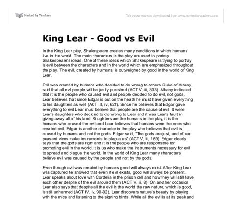 Vs Evil Essays king lear vs evil gcse marked by teachers