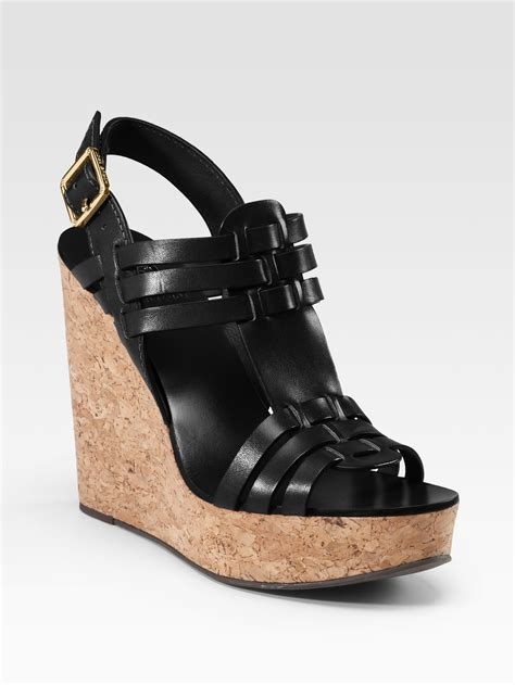 cork wedge sandal burch leslie cork wedge sandals in black lyst