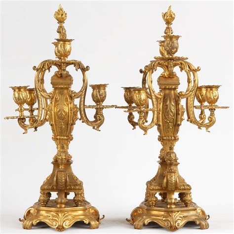 the candelabra finest quality pair of gilt bronze six light
