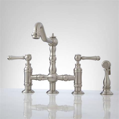 bellevue bridge kitchen faucet with sprayer lever handles brushed nickel ebay delilah deck mount bridge faucet with side spray lever