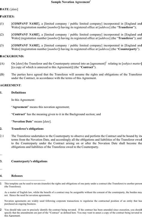 novation agreement novation agreement free premium templates