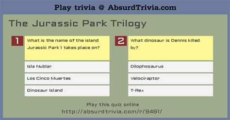 The The Witch And The Wardrobe Novel Study by Trivia Quiz The Jurassic Park Trilogy