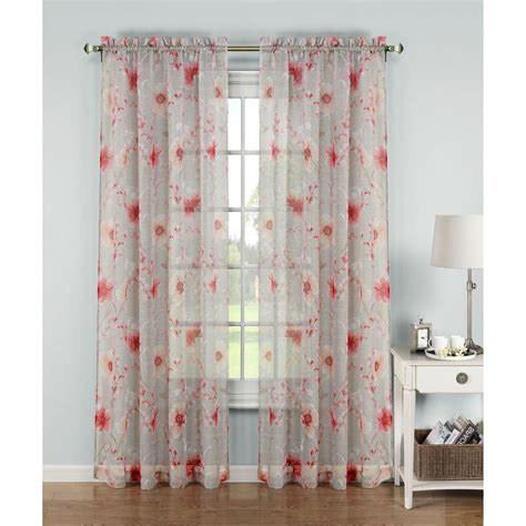 Printed Sheer Curtains Window Elements Sheer Printed Sheer Wide 54 In W X 84 In L Rod Pocket Curtain