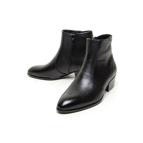 s plain toe black leather side zip high heels anke boots