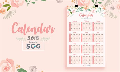 design calendar pages free one page 2018 printable wall calendar design template