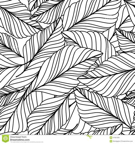 nature pattern black and white vector hand drawn doodle leaves seamless pattern abstract