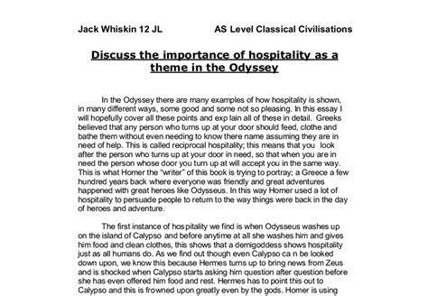 theme essay on the odyssey discuss the importance of hospitality as a theme in the