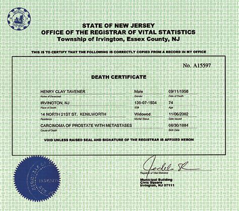 New Jersey Vital Records Birth Certificate Marriage Certificate Nj Background Checks