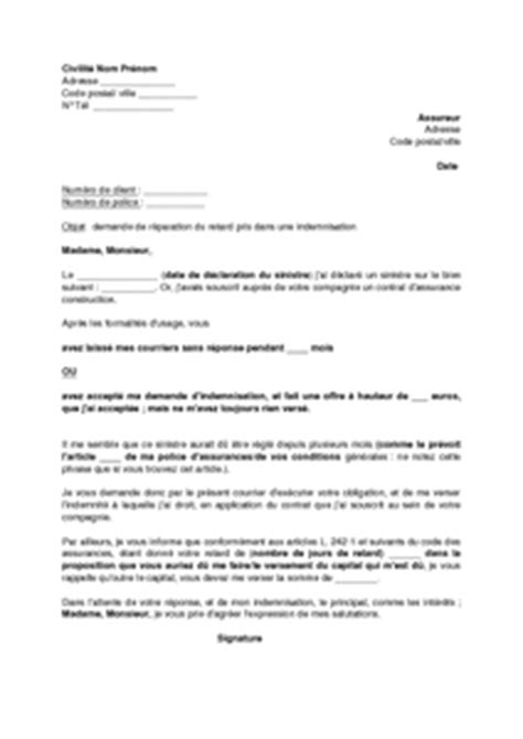 Exemple De Lettre De Présentation Construction Lettre De Demande D Int 233 R 234 Ts Pour Indemnisation Tardive Assurance Construction Mod 232 Le De