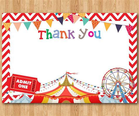 Circus Tent Template Card by Circus Thank You Note Circus Theme Thank You Card Boy