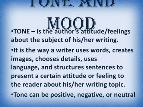 exle of mood in literature tone and mood