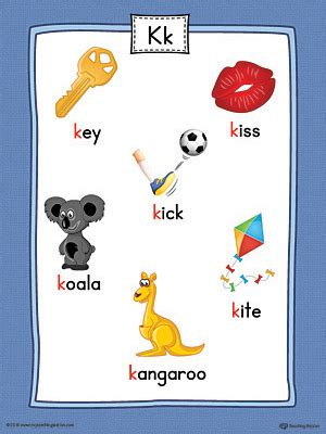 color that starts with the letter k letter k word list with illustrations printable poster