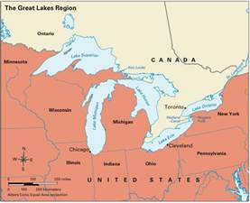 map of us with great lakes labeled mapping the great lakes