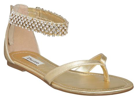 d sandals dune d ankle bracelet flat sandals in gold lyst