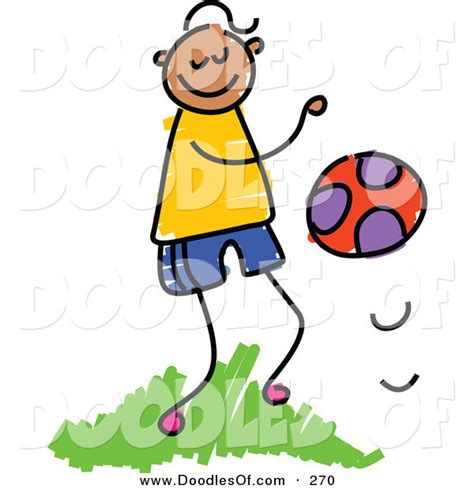 doodle bouncing vector clipart of a childs sketch of a happy boy bouncing