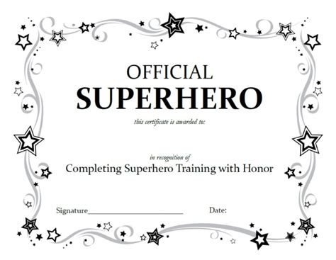 free coloring pages superhero certificate template