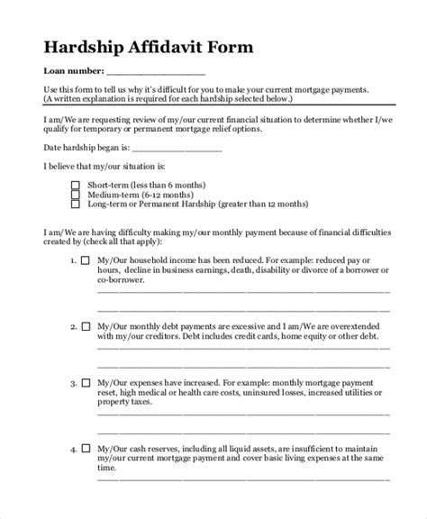 Hardship Affidavit Letter Sle Sle Blank Affidavit Form 9 Free Documents In Pdf