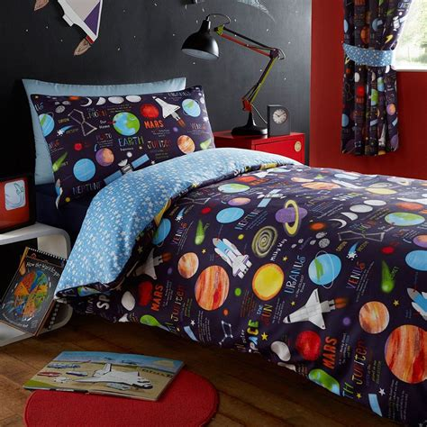 Space Bedding Sets Club Space Ship Planets Solar System Duvet Cover