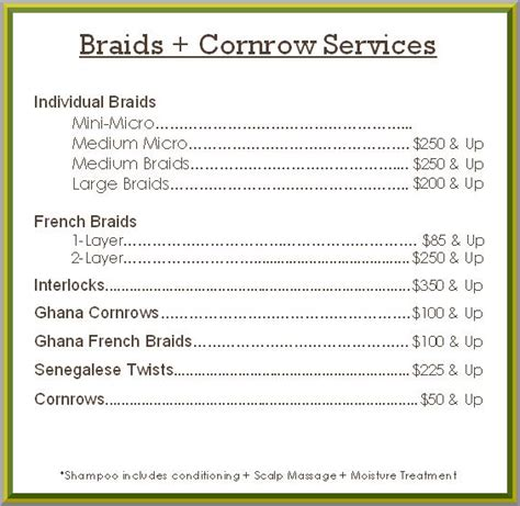 list of hairstyle prices professional hair braiding salon chicago long hair