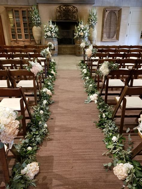 Sonoma Wedding Ramekins   Indoor wedding aisle floral