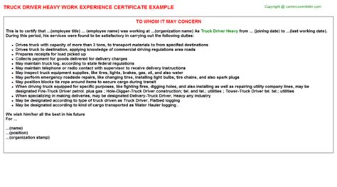 Experience Letter Truck Driver Truck Driver Heavy Work Experience Certificate