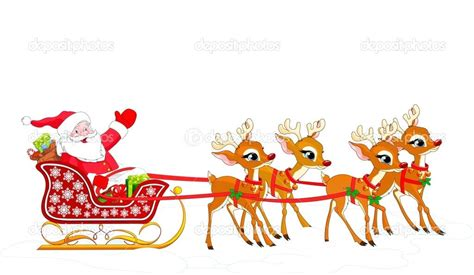 Santa In Sleigh Reindeer With And His Free Download Clip ... Free Clip Art Santa And Reindeer