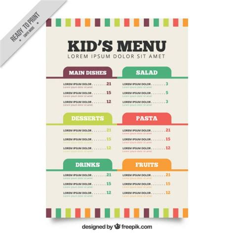 flat menu template for kids vector free download