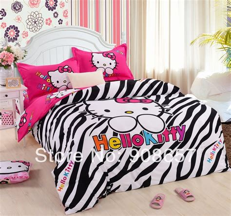 Bed Cover Single Hello Pink 120x200 black zebra skin pink hello printed comforters sets single king bed