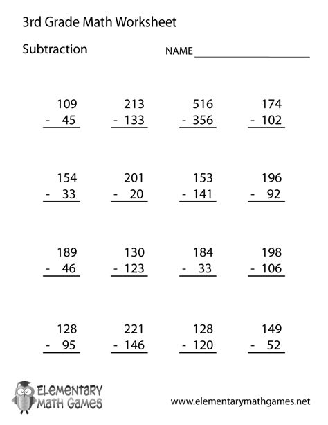 printable division worksheets grade 3 third grade subtraction worksheet