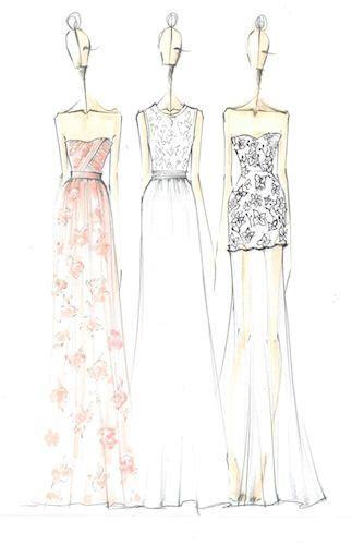 Desain Long Dress Simple   fashion design sketches erin fetherston floral printed