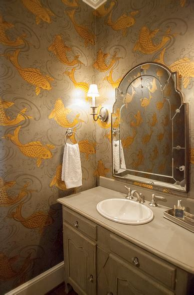 bathroom wallpaper fish koi wallpaper transitional bathroom lucy and company
