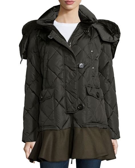 Quilted Parkas by Moncler Vauloge Quilted Parka Jacket With Flounce Hem In