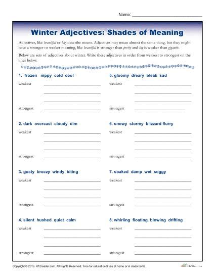 Shades Of Meaning Worksheets by Winter Adjectives Worksheet Activity Shades Of Meaning
