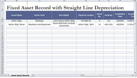 depreciation schedule template line depreciation calculator