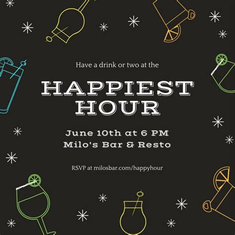 Customize 242 Happy Hour Invitation Templates Online Canva Free Happy Hour Invitation Template