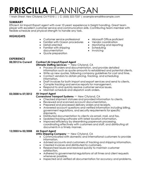 Air Import Export Agent Resume Examples Government